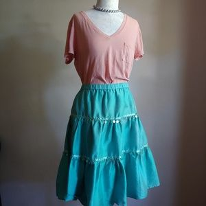 Lilly Pulitzer Silk Tiered Full Skirt w/ Spangles
